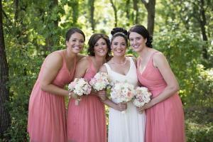 Image of a summer bride and her bridesmaids