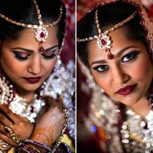 Image of a Hindu bride with Crimson jewel headpiece red lip and jeweled dress