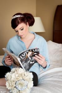 Image of hollywood glam bride reading a vanity fair magazine