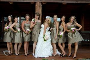 Image of bride and bridal party at the whiteface lodge in lake placid gold j.crew bridesmaid dresses and vogue bride