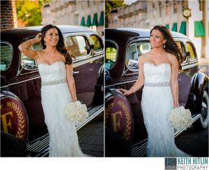 Image of a glam bride posing in front of vintage car Franklin Plaza Ballroom Troy New York