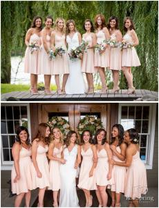 Image of bride with her bridesmaids wearing blush colored dresses outside in September wedding Crooked Lake House