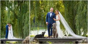 Image of whimsical bride and groom and their two dogs on dock in front of willow tree at Crooked Lake House